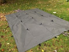 reinforced seams, underside hanging loops for drying clothes or suspending a lamp, hanging tools etc, and 23 webbing loops, both as external attachment points around the edge and importantly with 9 reinforced pullouts  Colour:  Olive or Sand Khaki  Canvas: 12oz Cotton Canvas – Fire-retardent, waterproofed and rotproofed.  Size: 3.5M x 2.5M  Weight: 6Kg  Price: £220