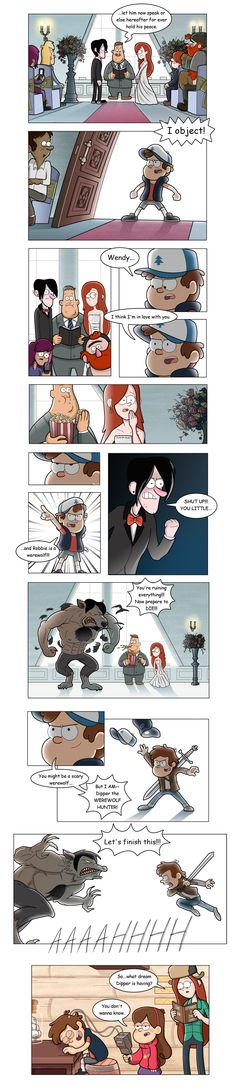 Dipper the werewolf hunter OR Robbie the werewolf? Commit I think dipper!<< Dipper is awesome. Gravity Falls Funny, Gravity Falls Comics, Disney Pixar, Disney And Dreamworks, Funny Cartoons, Funny Memes, Hilarious, Funny Comics, Monster Falls