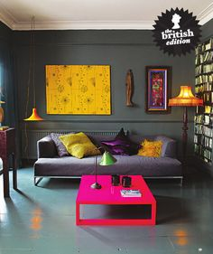 """jewel tone This is attributed to """"Adore Magazine"""", but I'm pretty sure it's actually from Living Etc! Either way, that coffee table is hot. Living Room Grey, Living Room Decor, Living Spaces, Grey Room, Bedroom Decor, Grey Interior Paint, Interior Design, Gray Paint, Room Interior"""