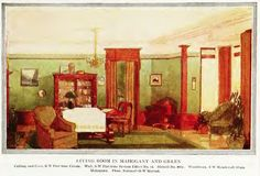 "Living Room in Mahogany and Green appeared in the 1912 ""Home Building and Decoration"" by Henry Collins Brown. (Blog post also includes stencil detail.)"