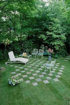 Vintage patio furniture... Love the lounger and the checkerboard lawn~