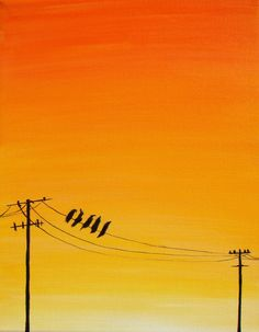 """""""Birds on a Wire"""" birds on telephone wires at by TheButterflyNette, $275.00"""