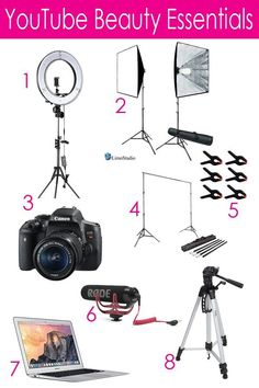 Neewer Ring Light Kit LimoStudio Softbox Lighting Kit Canon EOS Rebel Camera: Backdrop Support System: Backdrop Clamps Rode VMGO Microphone Apple MacBook Air Youtube Hacks, Youtube Setup, You Youtube, Youtube Secrets, Intro Youtube, Deco Studio, Studio Room, Studio Setup, Maquillage Mary Kay