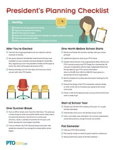 Our President's Planning Checklist with help PTO and PTA president's get organized!