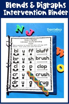 This Blends and Digraphs Intervention binder is a NO PREP- PRINT & GO resource! Print it out, place it in a notebook and students are ready for blends and digraph learning! This resource is packed with effective activities! #phonics #blends #digraphs #kindergarten #firstgrade #secondgrade #elementary #literacycenters #conversationsinliteracy kindergarten, 1st grade, 2nd grade