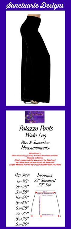 Sanctuarie Designs Women's /Black/5x/ Solid Wide Slinky Plus Size Supersize Palazzo Pants 5x Black/ 64'' Hips & 29'' Length Made by #Sanctuarie Designs Color #Multi. Measurements from Hips on size choice. Standard length inseam (29'') Tall length inseam (32''). 1x - 45''Hips 2x - 50''Hips 3x - 55''Hips 4x - 60''Hips 5x - 64''Hips 6x - 68''Hips 7x - 72''Hips 8x - 76''Hips 9x - 80''Hips. Sizing Runs Large, Refer To Sanctuarie Designs Size Chart