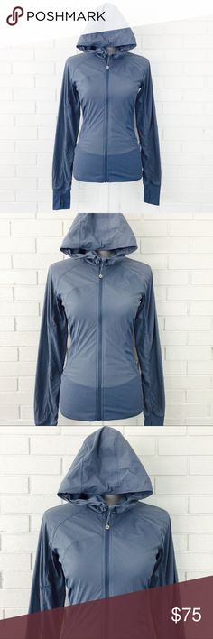 """Lululemon In Flux Reversible Thumbhole Jacket 🔘30% Off 2+Items 🔘Specifically Marked Items 👉🏻 6 for $25 🔘Kids Bundle Special 👉🏻 5 for $18  ▫️Brand: Lululemon  ▫️Size: 4  ▫️Material: Swift/Luon/Lycra ▫️Color: Denim  ▫Condition: Preowned - Like New ▫️Flaws: NONE  ▫️Description:  •Full zip w hood •Long sleeve w thumbhole cuffs •Reversible •Water repellent •Stretchy •Lightweight, no bulk •Sweat-wicking •Cottony-soft  ▫️Measurements Laying Flat: •Chest: 16"""" •Length: 24"""" •Shipping Weight…"""