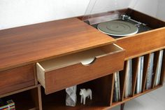 Vintage Swedish Teak Record Cabinet - Mid Century, Credenza, Wood, Buffet, Book Shelf - Pesquisa Google