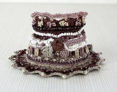 Boho Chic Flower Cuff Crochet Charming Bracelet Crochet