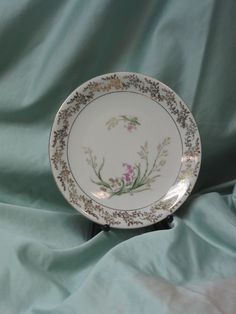 Vintage Bareuther Bavaria Luncheon Salad Plate Wildflowers Gold Filigree #BareutherCo
