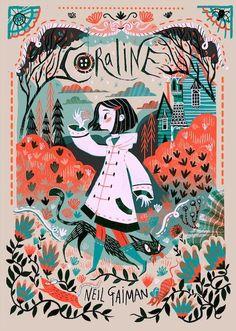 """Coraline"" by Neil Gaiman, illustration by Karl James Mountford und Poster Art And Illustration, Book Illustrations, Disney Illustration, Illustration Children, Character Illustration, Buch Design, Design Art, Design Ideas, Beautiful Book Covers"