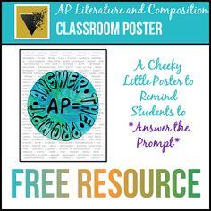 AP Lit Answer the Prompt Poster Cover English Short Stories, Ap English, English Language, Language Arts, Teaching High Schools, English Literature, American Literature, Ap Language And Composition, Ap Test