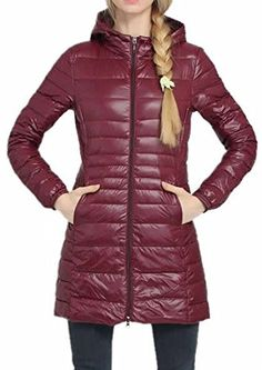 ARRIVE GUIDE Womens Casual Hooded Lightweight MidLong Down Coat Jackets Wine red XLarge * Visit the image link more details. (Note:Amazon affiliate link)