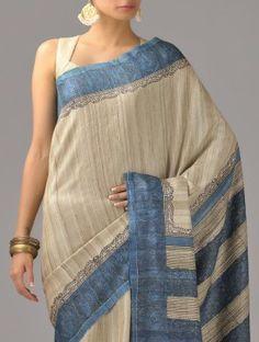 Beige-Blue Tussar Silk Saree