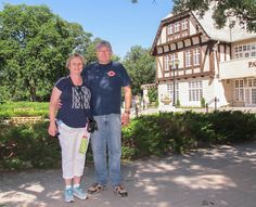 28. My sister Priscilla and husband Gary in front of the Pavilion Gallery Museum at Assiniboine Park.   They flew in from the Dallas, TX area to spend about 6 days with us.
