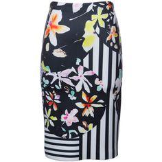 Clover Canyon Knee Length Neoprene Floral Skirt