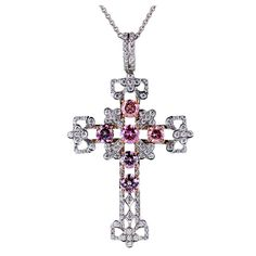 Pink White Diamond Gold Cross Pendant | From a unique collection of vintage necklace enhancers at https://www.1stdibs.com/jewelry/necklaces/necklace-enhancers/