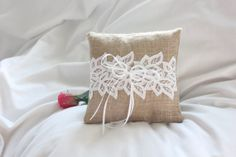 Ring bearer's  cute burlap pillow with thick guipure lace trim......so, so nice and very rustic for a modern wedding.