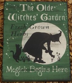 Witches Magic Garden Primitives witch Sign Herbs Witchcraft Fairies Cats Pixies Plaques Halloween decorations whimsical paintings Wiccan witch by SleepyHollowPrims, $27.00 USD
