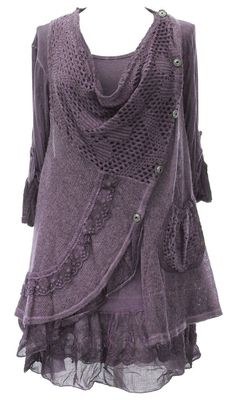 Ladies Womens Italian Lagenlook Quirky Layering Side Button 2 Piece Lace Knit Lana Long Sleeves Tunic Top Dress One Size Plus (UK 10-18) (One Size Plus, Purple): Amazon.co.uk: Clothing: