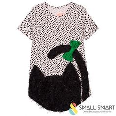 Bang Bang Copenhagen Dress | SmallSmart.co.uk    95% Viscose and 5% Spandex  Machine washable 30 degrees  Made from a soft cotton mix with a fluffy cat applique  A shaped soft t-shirt dress in soft pink and black dots with a black fluffy cat and green bow    Adorable! #clothing #fashion #girlsfashion #toddlers #littleones #style #fun #fashion