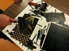 Lino print Print Ideas, Scissors, Printmaking, School Stuff, 2d, Mixed Media, Dance, Craft, Paper