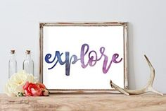 Explore Whimsical Watercolor Travel Modern Typography Print   Wall Decor