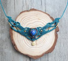 Macrame Necklace, macrame jewelry, macrame necklace, blue emperor stone (N11)