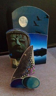Blue Temple. 3-D fold out collage card from magazine scrap. From Salon de Refuse studio. Artist Rita McNamara. Cool Card