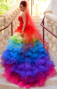 rainbow tulle + layers [Ricky Lindsay Esperanza Haute Couture Rainbow Evening Gown ]