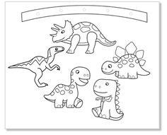Mobile dinosaures à colorier - dinosaures Tête à modeler