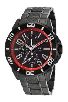Guess Men's Racer Multi-Function Black Ion Plated Steel and Dial - Watch Casual Watches, Cool Watches, Watches For Men, Guess Watches, Casio Watch, Bracelet Watch, Quartz, Bracelets, Accessories