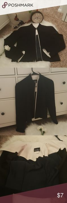 Positive attitude Jacket 100% polyester. Black and white jacket. Can be used casual or formal. Very nice cut.  Has a stain inside (pic #3) unnoticeable once you wear it. Positive Attitude Jackets & Coats Blazers