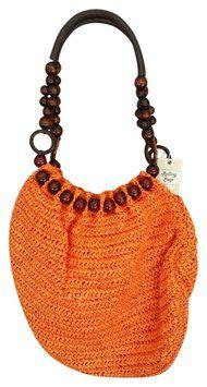 Rolling Sage Straw Orange Tote Bag $21