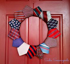 Neckties are a dime a dozen at thrift stores.So why not turn them into a fun, unique way to show your support for Memorial Day, Flag Day, and the of July with a patriotic wreath? Patriotic Wreath, Patriotic Decorations, 4th Of July Wreath, Summer Wreath, Patriotic Crafts, Office Decorations, Memorial Day, Fall Leaf Garland, Tie Crafts