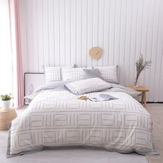 Reasonable price & top quality EvoShop gives you great shopping experience. Queen Size Bed Sets, Queen Size Bedding, King Size, Grey And White Bedding, Grey Bedding, Queen Sheets, Duvet Bedding Sets, Seersucker, Duvet Cover Sets