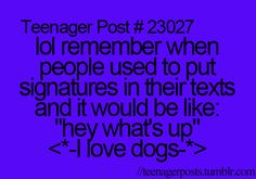 "Lol remember when people used to put signatures in their texts and it would be like:  ""hey, what's up?""  <*-I love dogs-*>"