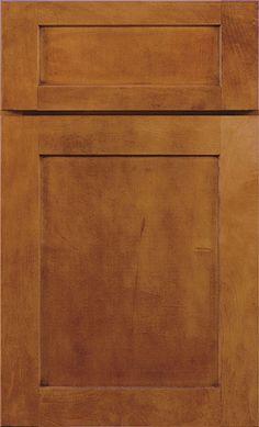 Kemper - Maple in Havana finish (5 square door)  For kitchen cabinets.