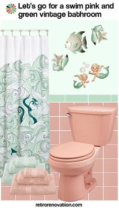 Ideas to decorate a pink bathroom - using classic kitsch designs - Retro Renovation - I'm not going to lie, this is actually making me reconsider my feelings about our pink bathroom. 50s Bathroom, Rental Bathroom, Mermaid Bathroom, Retro Bathrooms, Beach Bathrooms, Small Bathroom, Bathroom Ideas, Washroom, Parisian Bathroom