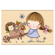 A trip Rubber Stamp (Penny Black) Woodblock Craft Stamp • Hedgehog • Spring • Gardening • Paper Crafting • Card Making • PaperCraft (4246K)