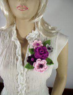LiliaCraftParty: Crochet Bouquet Flowers Brooch Pattern