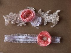 WEDDING pink Garter Teal  Prom Garter Garters  by SweetsOfLife4
