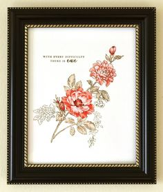 One-layer stamped image for wall art on frames. The floral stamped images are from the Beautiful Day and Remember This stamp sets. www.altenew.com
