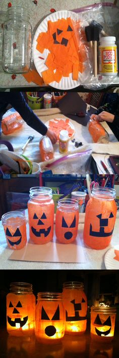 Here's an easy pumpkin luminary to use for a Halloween decoration.  -Get a Mason Jar, orange tissue paper, and black construction paper or felt. -Modge Podge strips of the orange tissue paper around the Mason Jar. -Cut out a mouth and eyes from the construction paper or felt and glue on. -Add a teacup candle or LED to the jar. Mason Jar Pumpkin, Autumn Decorations, Fall Decor, Halloween Decorations, Black Construction Paper, Ground Hog, Teacup Candles, Crafts For Girls, Kids Crafts