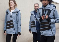 """An article on our windbreaker published on Dezeen: """"Dutch fashion designer Pauline van Dongen has created more clothing with integrated solar panels, designing a windbreaker that can charge wearers' phones."""""""