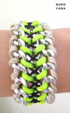 SUKOYARA hand woven wrist wrap bracelet (gold / neon yellow / midnight black)
