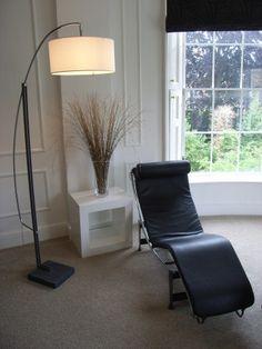 contemporary standard lamp in georgian drawing room