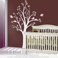 Baby room possibility.  Very cute little birds. ~hadn't considered mauve and pink for a girl...