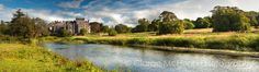 This panoramic photograph of Markree Castle was taken late in an afternoon in July It comprises 6 separate photographs and was shot from the south overlooking the Unsin River which flows though the castle's 800 acre estate Angles Images, Images Of Ireland, Country House Hotels, Photography Photos, Acre, Monument Valley, Castle, Country Roads, River