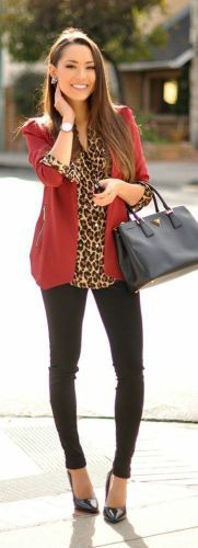 Leopard shirt + wine red blazer + black skinnies and those chic bag. | Office Style